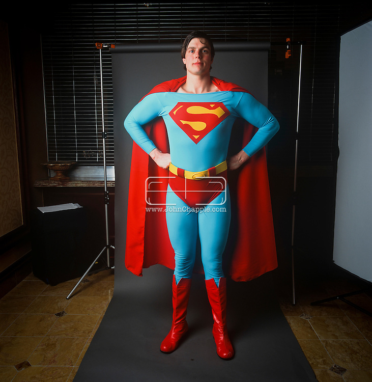 24th February 2011. Las Vegas, Nevada.  Celebrity Impersonators from around the globe were in Las Vegas for the 20th Annual Reel Awards Show. Pictured is Clark Kent / Superman impersonator Alexander Rae, 26, from Pennsylvania. Photo © John Chapple / www.johnchapple.com..