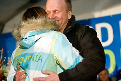 Slovenian bronze medalist cross-country skier Petra Majdic and her ex-coach Robert Slabanja at reception at her home town Dol pri Ljubljani after she came from Vancouver after Winter Olympic games 2010, on March 1, 2010 in Dol pri Ljubljani, Slovenia. (Photo by Vid Ponikvar / Sportida)