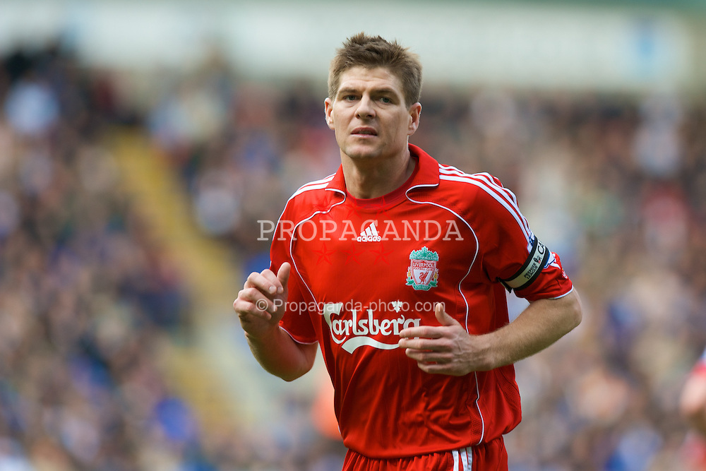 BOLTON, ENGLAND - Sunday, March 2, 2008: Liverpool's captain Steven Gerrard MBE during the Premiership match against Bolton Wanderers at the Reebok Stadium. (Photo by David Rawcliffe/Propaganda)