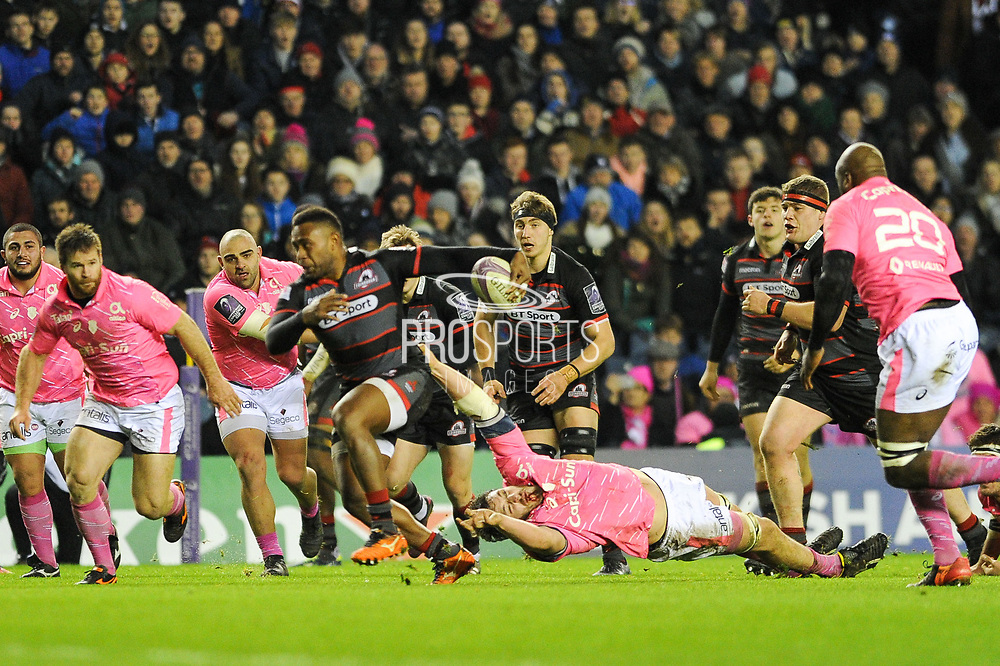 Junior Rasolea had a great game during the European Rugby Challenge Cup match between Edinburgh Rugby and Stade Francais at Murrayfield Stadium, Edinburgh, Scotland on 12 January 2018. Photo by Kevin Murray.
