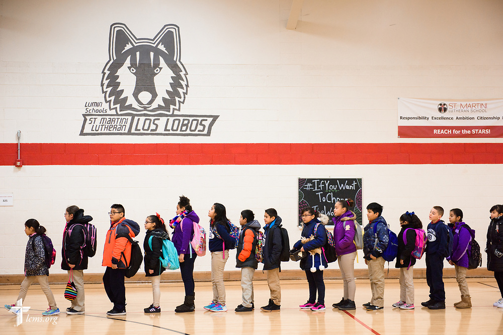Students walk to class at St. Martini Lutheran School on Tuesday, Nov. 14, 2017, in Milwaukee. LCMS Communications/Erik M. Lunsford