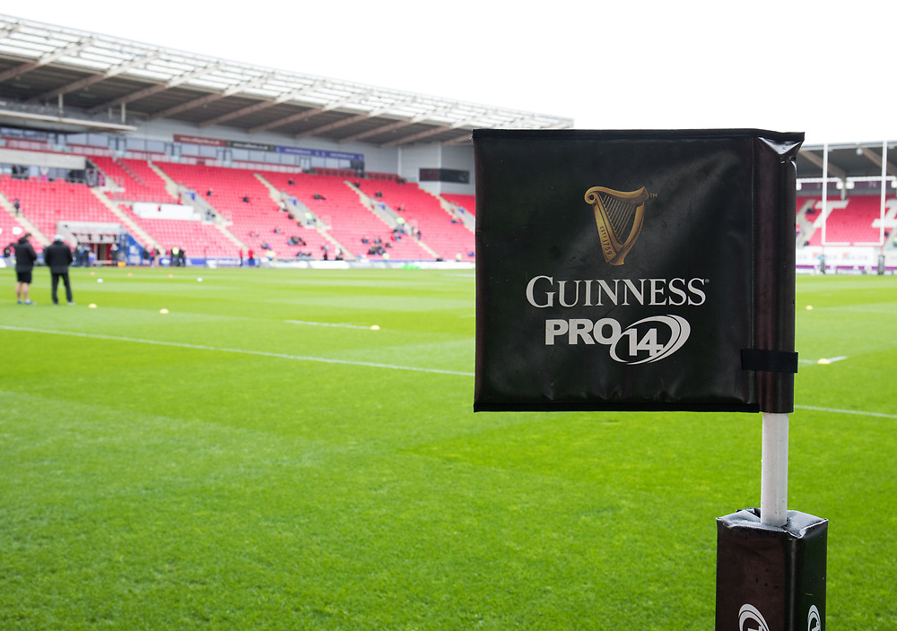 A general view of Parc Y Scarlets, home of Scarlets banner, flag<br /> <br /> Photographer Simon King/Replay Images<br /> <br /> Guinness PRO14 Round 19 - Scarlets v Glasgow Warriors - Saturday 7th April 2018 - Parc Y Scarlets - Llanelli<br /> <br /> World Copyright © Replay Images . All rights reserved. info@replayimages.co.uk - http://replayimages.co.uk