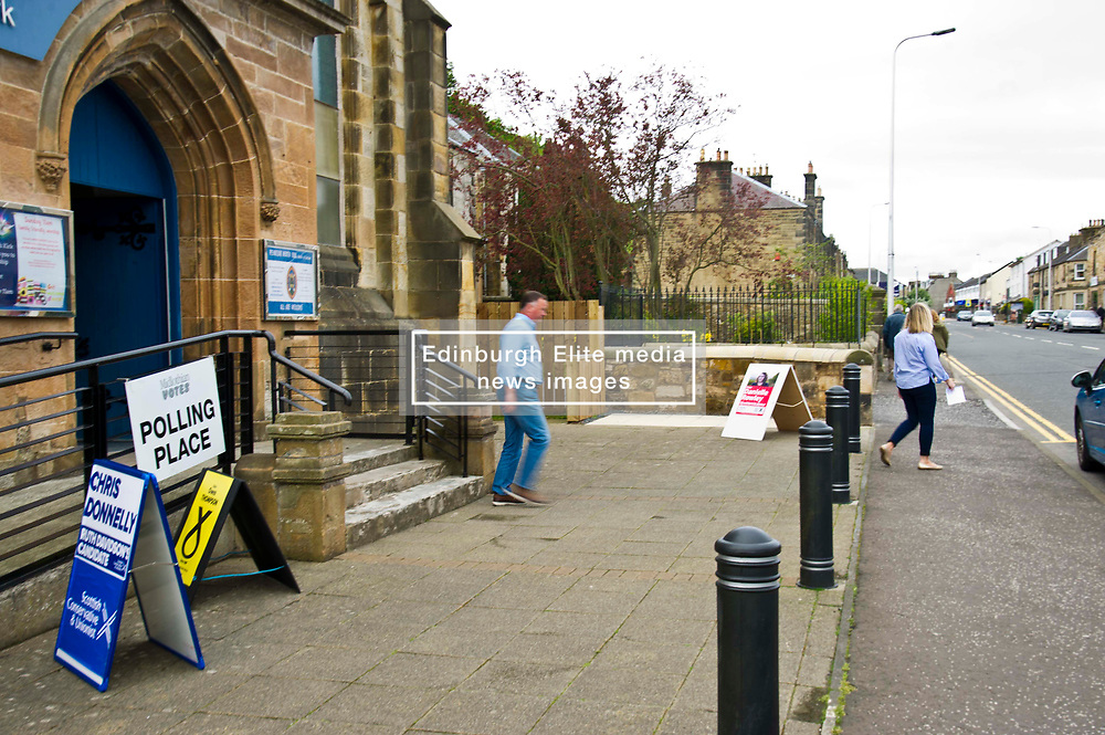 Pictured: <br /> <br /> Early voters head to the polls on John Street in Penicuik, Midlothian<br /> <br /> Ger Harley   EEm 8 June 2017