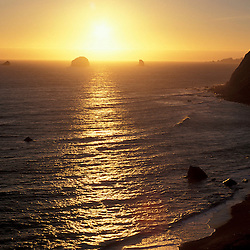 Port Orford, OR..Oregon Coast. Sunset. Pacific Ocean.  June.