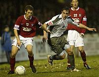 Photo: Aidan Ellis.<br /> York City v Bristol City. The FA Cup. 11/11/2006.<br /> Bristol's Richard Keogh loses out to York's Anthony lloyd
