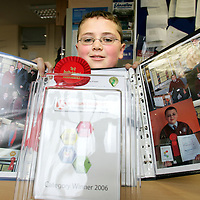 """170106<br /> 14 year old Declan O'Loughlin of CBS Ennistymon who won 1st place in the Junior Individual Category at the Young Scientist Exhibition. His project was entitled """"Improving efficiency in Domestic Oil Central Heating Systems"""".Pic Arthur Ellis/Press 22."""