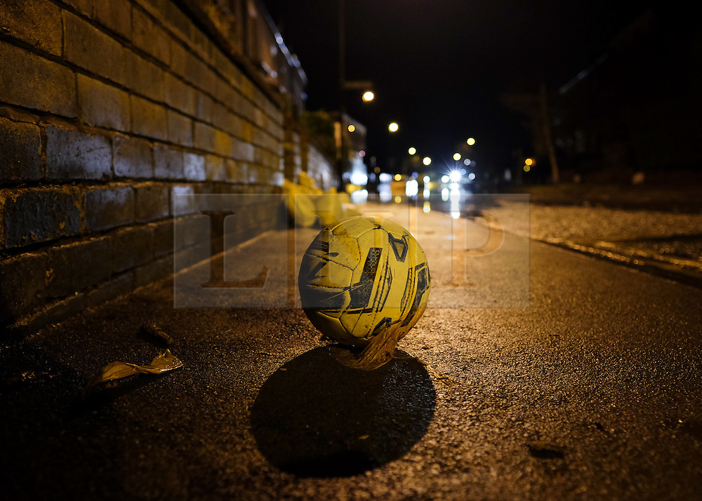 &copy; Licensed to London News Pictures. 29/12/15<br /> York, UK. <br /> <br /> A football stands on the pavement as flood water begins to subside on Huntington Road in York. Further rainfall is expected over coming days as Storm Frank approaches the east coast of the country.<br /> <br /> Photo credit : Ian Forsyth/LNP