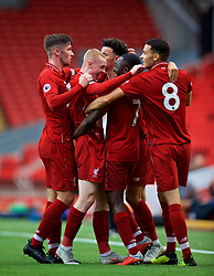 LIVERPOOL, ENGLAND - Friday, August 17, 2018: Liverpool's Bobby Adekanye celebrates scoring the first goal with team-mates during the Under-23 FA Premier League 2 Division 1 match between Liverpool FC and Tottenham Hotspur FC at Anfield. (Pic by David Rawcliffe/Propaganda)