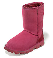 Red Ugg brand boot on a white background.