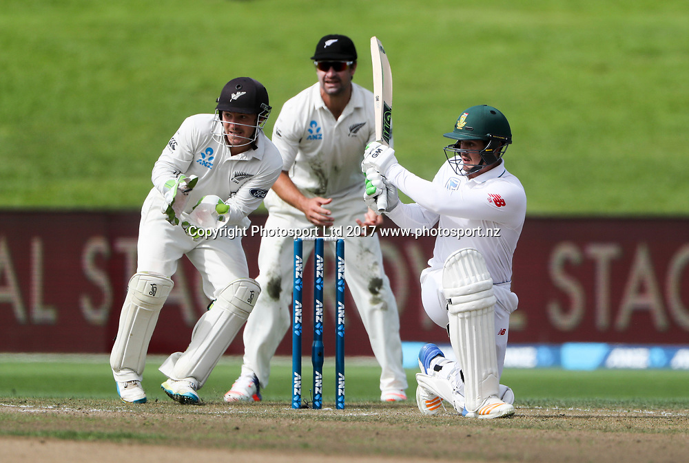 South Africa Quentin de Kock. Day 2, 3rd Test, International Test match cricket, New Zealand Black Caps v South Africa Proteas. Seddon Park, Hamilton, New Zealand, Sunday 26 March 2017.  Copyright photo: John Cowpland / www.photosport.nz