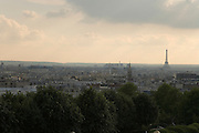 grand panoramic view of Paris from Parc de Belleville with the Eiffel Tower
