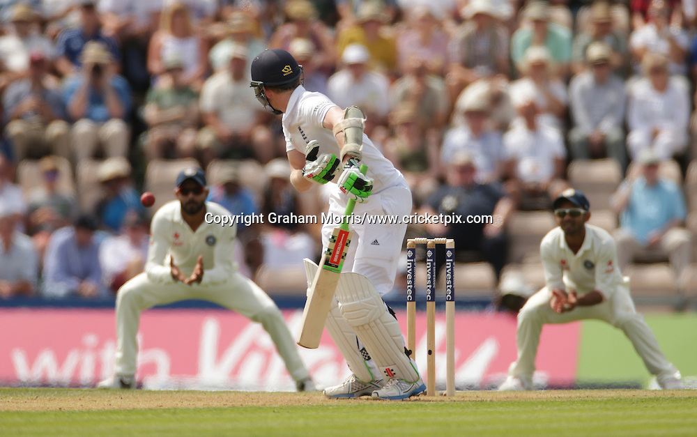 Ravindra Jadeja catches Sam Robson off Mohammed Shami during the third Investec Test Match between England and India at the Ageas Bowl, Southampton. Photo: Graham Morris/www.cricketpix.com (Tel: +44 (0)20 8969 4192; Email: graham@cricketpix.com) 27/07/14