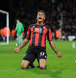 Joshua King of Bournemouth celebrates his goal. - Mandatory byline: Alex James/JMP - 12/12/2015 - Football - Vitality Stadium - Bournemouth, England - AFC Bournemouth v Manchester United - Barclays Premier League