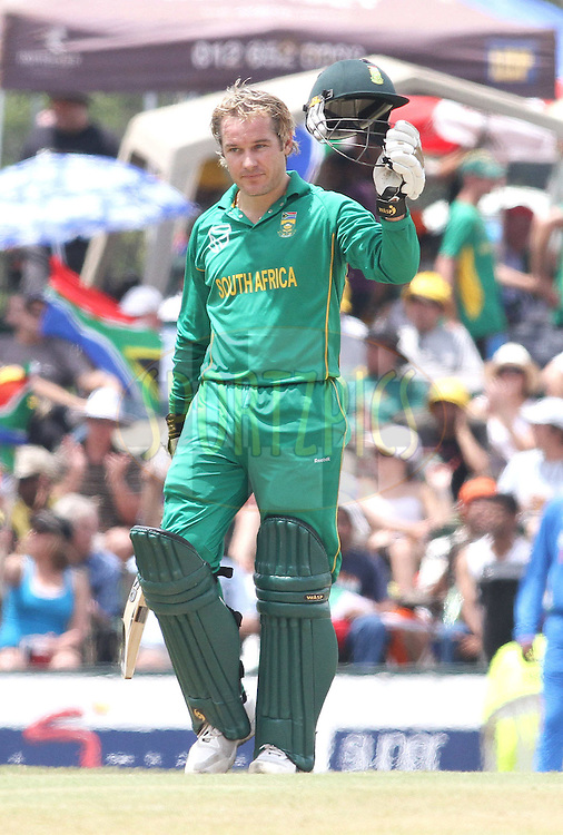 Morne van Wyk of South Africa raises his helmet to the crowed after reaching his fifty during the 5th ODI between South Africa and India held at Supersport Park in Centurion, Gauteng, South Africa on the 23rd January 2011..Photo by Shaun Roy/BCCI/SPORTZPICS