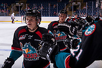 KELOWNA, CANADA - SEPTEMBER 5: Kaeden Korczak #6 and Conner Bruggen-Cate #20 of the Kelowna Rockets celebrate a second period goal against the Kamloops Blazers on September 5, 2017 at Prospera Place in Kelowna, British Columbia, Canada.  (Photo by Marissa Baecker/Shoot the Breeze)  *** Local Caption ***