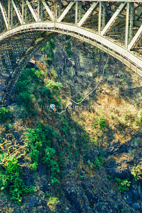 A adult man bungee jumps from the Victoria Falls Bridge over the Zambezi River.  The Victoria Falls Bridge links the countries of Zimnanwe and Zambia.