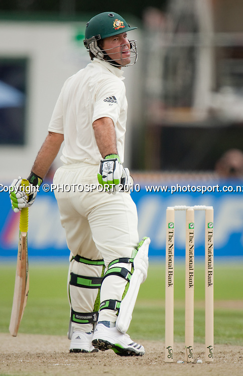 Ricky Ponting bats during day one of the 2nd cricket test match between NZ Black Caps and Australia, at Seddon Park, Hamilton, 27 March 2010. Photo: Stephen Barker/PHOTOSPORT