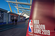 General view outside the o2 Arena before the NBA London Game match between Washington Wizards and New York Knicks at the O2 Arena, London, United Kingdom on 17 January 2019.