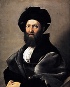 Baldassare Castiglione 1478-1529 Italian diplomat, portrait by Raphael Sanzio da Urbino (April 6 or March 28, 1483 – April 6, 1520), Italian painter and architect of the High Renaissance. Painted 1514-1515