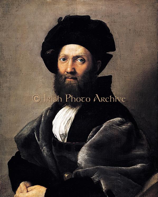 Baldassare Castiglione 1478-1529 Italian diplomat, portrait by Raphael Sanzio da Urbino (April 6 or March 28, 1483 – April 6, 1520), Italian painter and architect of the High Renaissance. Painted 1514-1515