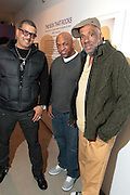 New York, NY- MARCH 10:  (L-R) Video Music Box Host Ray De Jon, Video Music Box Founder Ralph McDaniels and Visual Artist Danny Simmons at the Opening Reception of ' THE BOX THAT ROCKS: 30 Years of Video Music Box and the Rise of Hip Hop Music & Culture held at the Museum of Contemporary African Diasporan Arts (MoCADA) on March 10, 2012 in Brooklyn, New York City. (Photo by Terrence Jennings)