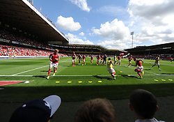 Nottingham Forest warm up in front of there fans. - Photo mandatory by-line: Alex James/JMP - Mobile: 07966 386802 09/08/2014 - SPORT - FOOTBALL - Nottingham - City Ground - Nottingham Forest v Blackpool - Sky Bet Championship - First game of the season