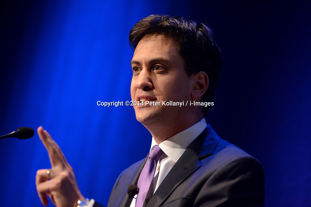 Ed Miliband MP, Leader of the Labour Party delivers the Hugo Young Lecture entitled 'People-powered Public Services' at  Kings Place, London. Kings Place, London, United Kingdom. Monday, 10th February 2014. Picture by Peter Kollanyi / i-Images