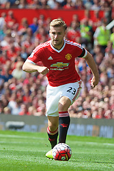 MANCHESTER, ENGLAND - Saturday, August 8, 2015: Manchester United's Luke Shaw in action against Tottenham Hotspur during the Premier League match at Old Trafford. (Pic by David Rawcliffe/Propaganda)