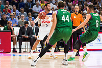 Real Madrid's player Rudy Fernandez and Unicaja Malaga's player Dejan Musli and Nemanja Nedovic during match of Liga Endesa at Barclaycard Center in Madrid. September 30, Spain. 2016. (ALTERPHOTOS/BorjaB.Hojas)