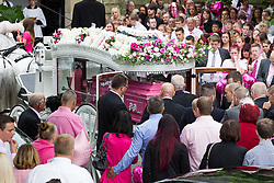 © Licensed to London News Pictures . 09/08/2013 . Salford , UK . A horse drawn cortege delivers the coffin to the church . The funeral of Linzi Ashton at St Paul's C of E Church in Salford , today (9th August 2013) . Linzi Ashton (25) was found murdered in her home on Westbourne Road in Salford on 29th June . Michael Cope is standing trial, accused of murdering, raping and assaulting her . Photo credit : Joel Goodman/LNP