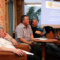 Vice chairman Paul Touhy, treasurer Michael McInerney and fixtures secretary Michael Leydon at the Clare Soccer League AGM in the Clare Inn on Thursday evening,.<br /><br /><br /><br />Photograph by Yvonne Vaughan.