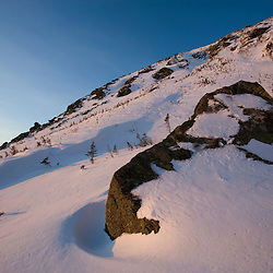 Early morning in Tuckerman Ravine in New Hampshire's White Mountains.  White Mountain National Forest.