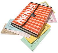 orange and white picnic table menu holder