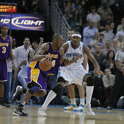 12 November 2008: New Orleans Hornets forward James Posey (41) defends Los Angeles Lakers guard Kobe Bryant (24) during a 93-86 win by the Los Angeles Lakers over the New Orleans Hornets at at the New Orleans Arena in New Orleans, LA..