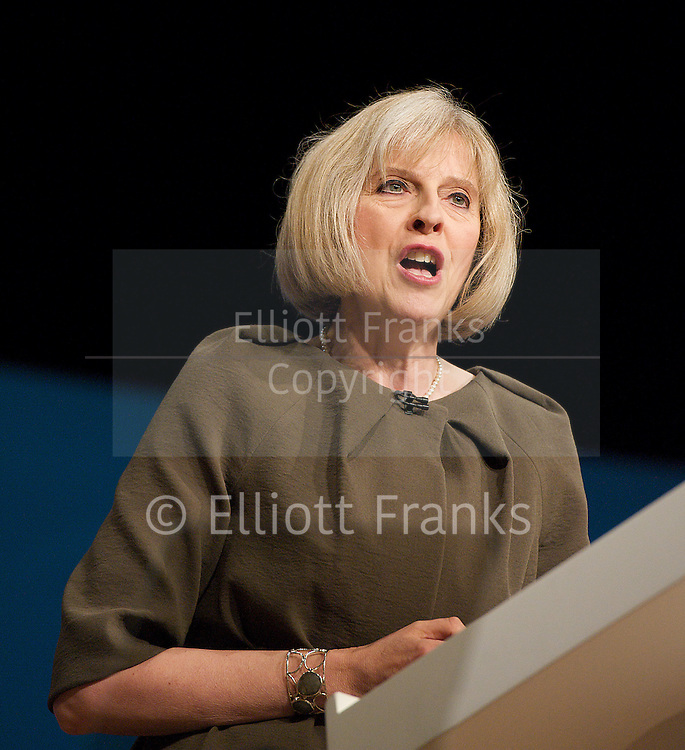 Conservative Party Conference, ICC, Birmingham, Great Britain <br /> Day 3<br /> 9th October 2012 <br /> <br /> Theresa May MP<br /> Home Secretary<br /> keynote speech <br /> <br /> <br /> <br /> Photograph by Elliott Franks<br /> <br /> United Kingdom<br /> Tel 07802 537 220 <br /> elliott@elliottfranks.com<br /> <br /> ©2012 Elliott Franks<br /> Agency space rates apply
