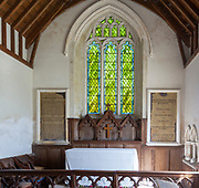 Historic interior of village parish church at Homersfield, Suffolk, England, UK