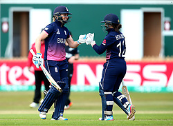 Heather Knight of England Women fist bumps Tammy Beaumont of England Women - Mandatory by-line: Robbie Stephenson/JMP - 12/07/2017 - CRICKET - The County Ground Derby - Derby, United Kingdom - England v New Zealand - ICC Women's World Cup match 21