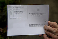 A Scottish independence referendum official voter polling card. Yes Scotland were campaigning for the country to leave the United Kingdom, whilst Better Together were campaigning for Scotland to remain in the UK. On the 18th of September 2014, the people of Scotland voted in a referendum to decide whether the country's union with England should continue or Scotland should become an independent nation once again and leave the United Kingdom.