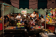 A stall featuring a water catching game in the Summer Bon Odori matsuri (festival) in Tsuruma, Kanagawa, Japan. Saturday July 21st 2018