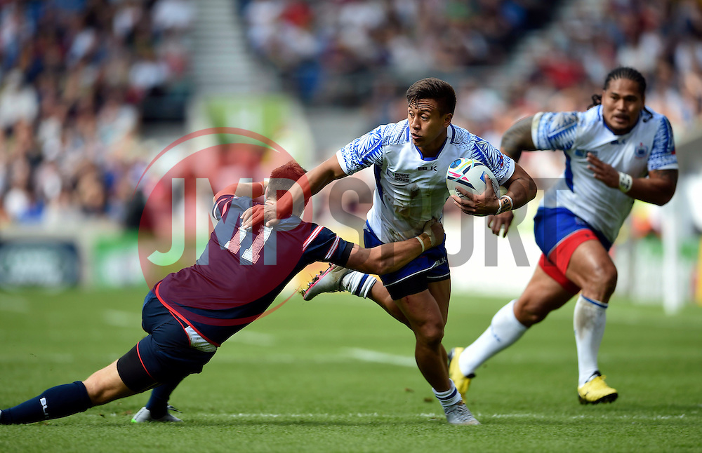 Tim Nanai-Williams of Samoa is tackled by Chris Wyles of the USA - Mandatory byline: Patrick Khachfe/JMP - 07966 386802 - 20/09/2015 - RUGBY UNION - Brighton Community Stadium - Brighton, England - Samoa v USA - Rugby World Cup 2015 Pool B.