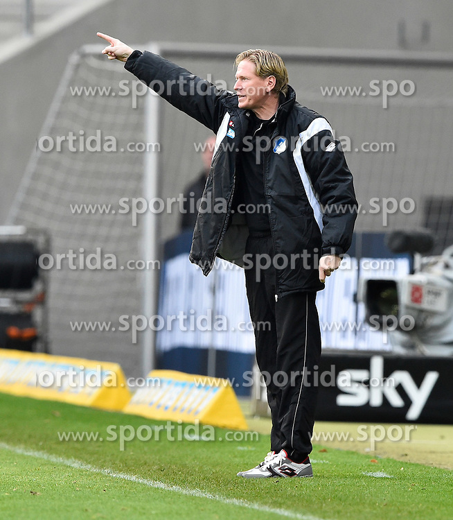 04.04.2015, Rhein Neckar Arena, Sinsheim, GER, 1. FBL, TSG 1899 Hoffenheim vs Borussia Moenchengladbach, 27. Runde, im Bild Trainer Markus Gisdol TSG 1899 Hoffenheim Gestik Geste am Spielfeldrand // during the German Bundesliga 27th round match between TSG 1899 Hoffenheim and Borussia Moenchengladbach at the Rhein Neckar Arena in Sinsheim, Germany on 2015/04/04. EXPA Pictures &copy; 2015, PhotoCredit: EXPA/ Eibner-Pressefoto/ Weber<br /> <br /> *****ATTENTION - OUT of GER*****