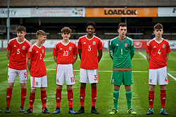 MERTHYR TYDFIL, WALES - Thursday, November 2, 2017: Wales' Alaric Jones, Chris Craven, Callum Jones, Liam Ihekwoaba, goalkeeper Lewis Dutton and Guto Williams before an Under-18 Academy Representative Friendly match between Wales and Newport County at Penydarren Park. (Pic by David Rawcliffe/Propaganda)