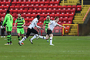 Gateshead's Danny Johnson(9) scores a goal 2-0 and celebrates during the Vanarama National League match between Gateshead and Forest Green Rovers at Gateshead International Stadium, Gateshead, United Kingdom on 18 February 2017. Photo by Shane Healey.