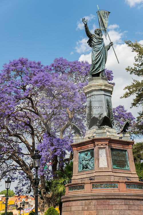 Statue of Independence leader Miguel Hidalgo in the Plaza Principal with flowering Jacaranda behind in Dolores Hidalgo, Guanajuato, Mexico. Hildago was a parish priest who issued the now world famous Grito - a call to arms for Mexican independence from Spain.