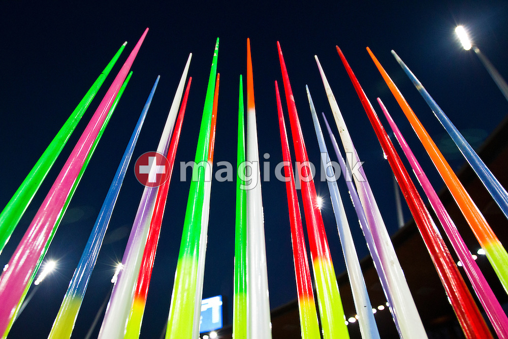 Javelins are lined up during the IAAF Diamond League meeting at the Letzigrund Stadium in Zurich, Switzerland, Thursday, Aug. 19, 2010. (Photo by Patrick B. Kraemer / MAGICPBK)