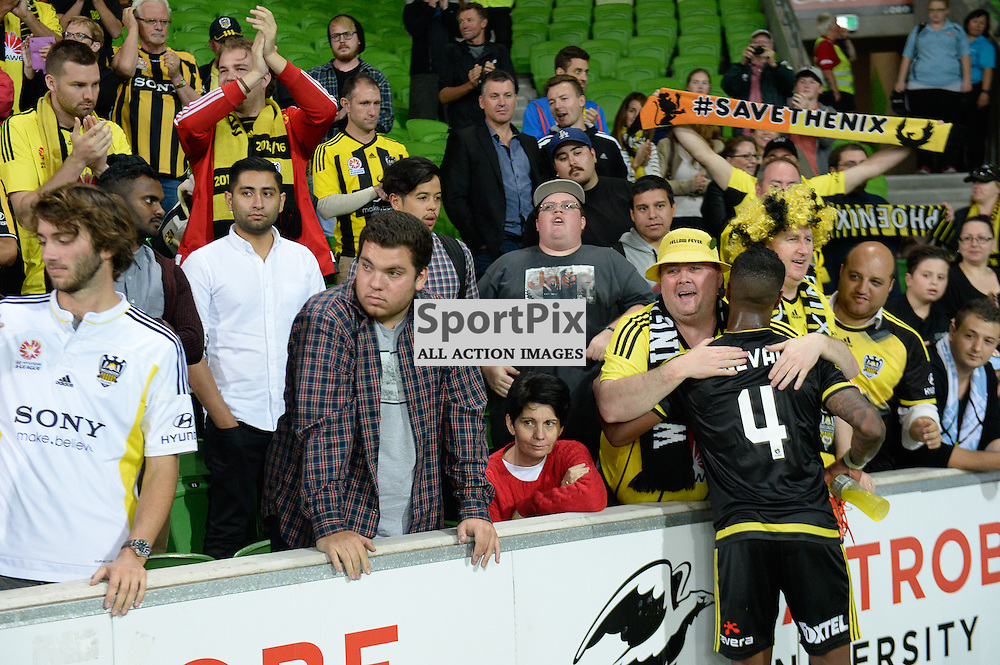Rolieny Bonevacia of Wellington Phoenix with fans at the end of the Hyundai A-League, January 25th 2016, RD16 match between Melbourne City FC v Wellington Phoenix FC in a 3:01 win to City  at Aami Park,  Melbourne, Australia. © Mark Avellino | SportPix.org.uk