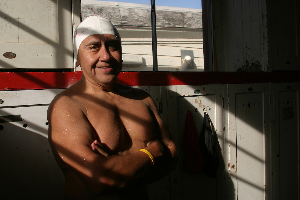 Pedro Ordenes, 60 years old, before his 417 swim from Alcatraz Island, in  the water world swim club in San Francisco ,on Saturday Novemer.11.06..Pedro Ordenes hold the world recorded of swimming from Alcatraz Island, Hi do this swim around 3-4 times a week.....