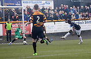 Alloa Athletic keeper Scott Bain saves from Dundee's Christian Nade - Alloa Athletic v Dundee, SPFL Championship at Recreation Park, Alloa<br /> <br />  - &copy; David Young - www.davidyoungphoto.co.uk - email: davidyoungphoto@gmail.com