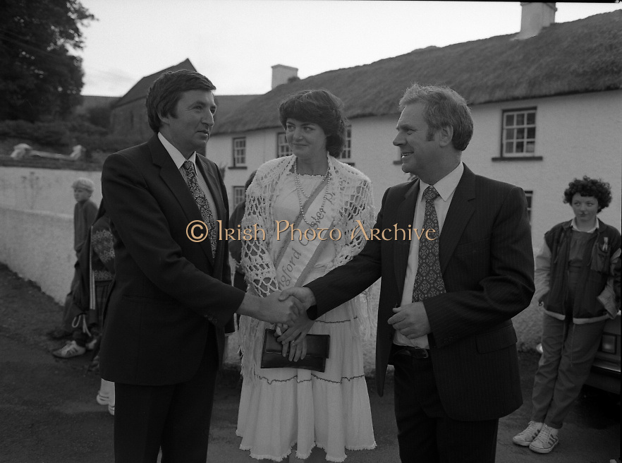 "The Carlingford Oyster Festival.1982.19.08.1982..08.19.1982.19th August 1982..Pictures and Images of the Carlingford Oyster Festival...The Minister For Fisheries and Forestry Mr Brendan Daly officially opened  The Carlingford Oyster Festival. The Chairman of the organising committee was Mr. Joe McKevitt..""The Oyster Pearl"" was Ms Deirdre McGrath..The Minister accompanied by the ""Oyster Pearl"", Ms McGrath  meet some of the organising committee."