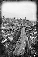 Aerial view of Chicago from the northwest overlooking the Kennedy Expressway or I-90/94.